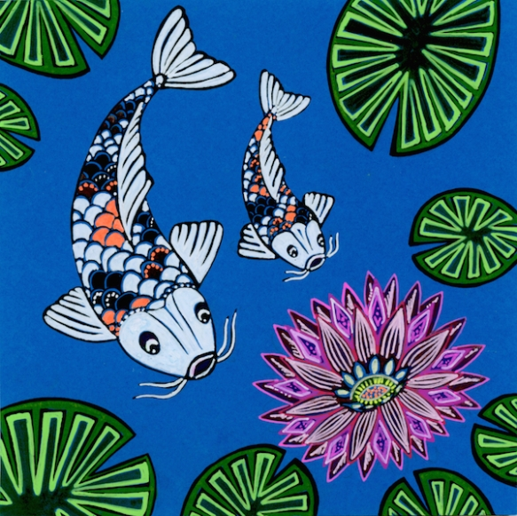 Zana Bass_June 2015_Fathers Day Card Koi Pond
