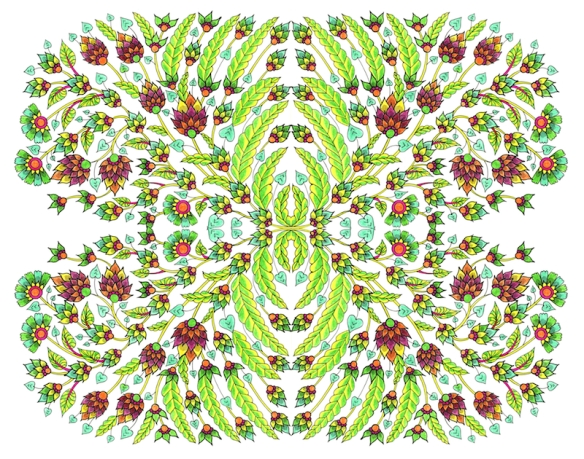 Zana Bass_August 2015 Floral Pen & Colored Pencil Tiles copy
